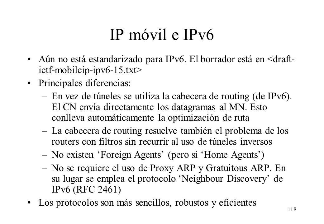 IP móvil e IPv6 Aún no está estandarizado para IPv6. El borrador está en <draft-ietf-mobileip-ipv6-15.txt>