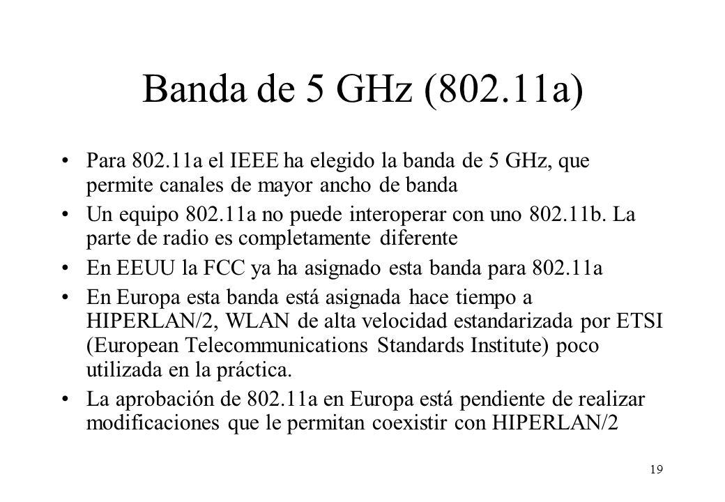 Banda de 5 GHz (802.11a) Para 802.11a el IEEE ha elegido la banda de 5 GHz, que permite canales de mayor ancho de banda.