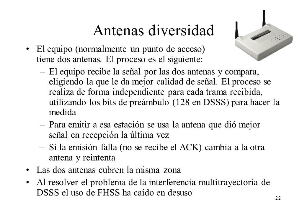 Antenas diversidad El equipo (normalmente un punto de acceso) tiene dos antenas. El proceso es el siguiente: