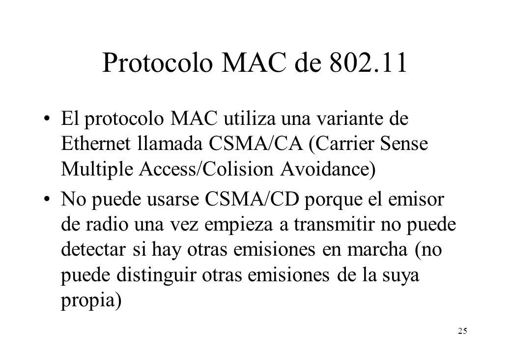 Protocolo MAC de 802.11 El protocolo MAC utiliza una variante de Ethernet llamada CSMA/CA (Carrier Sense Multiple Access/Colision Avoidance)