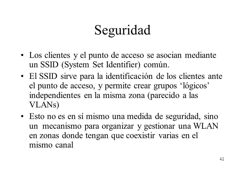 Seguridad Los clientes y el punto de acceso se asocian mediante un SSID (System Set Identifier) común.