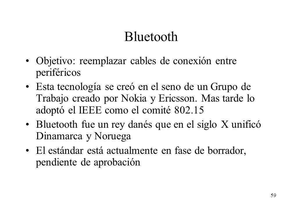 Bluetooth Objetivo: reemplazar cables de conexión entre periféricos