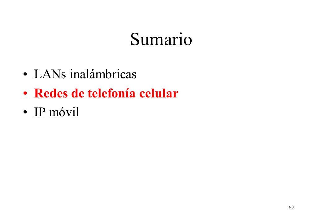 Sumario LANs inalámbricas Redes de telefonía celular IP móvil