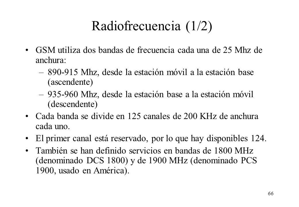 Radiofrecuencia (1/2) GSM utiliza dos bandas de frecuencia cada una de 25 Mhz de anchura: