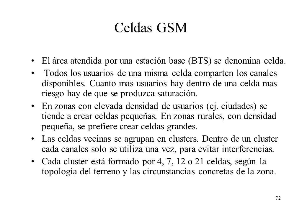 Celdas GSM El área atendida por una estación base (BTS) se denomina celda.