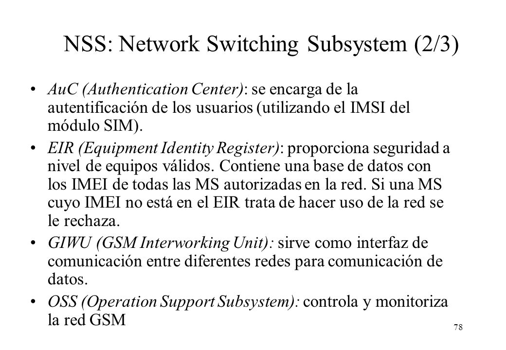 NSS: Network Switching Subsystem (2/3)