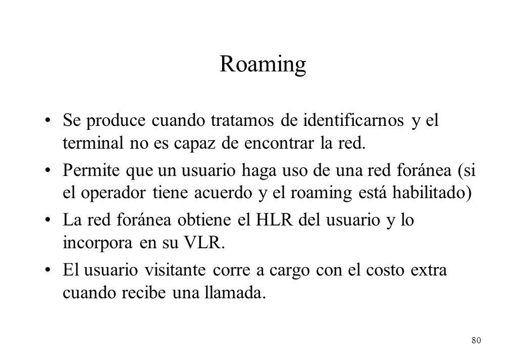 Roaming Se produce cuando tratamos de identificarnos y el terminal no es capaz de encontrar la red.