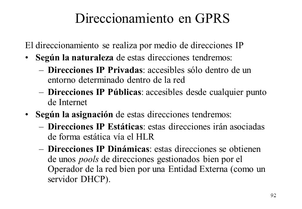 Direccionamiento en GPRS