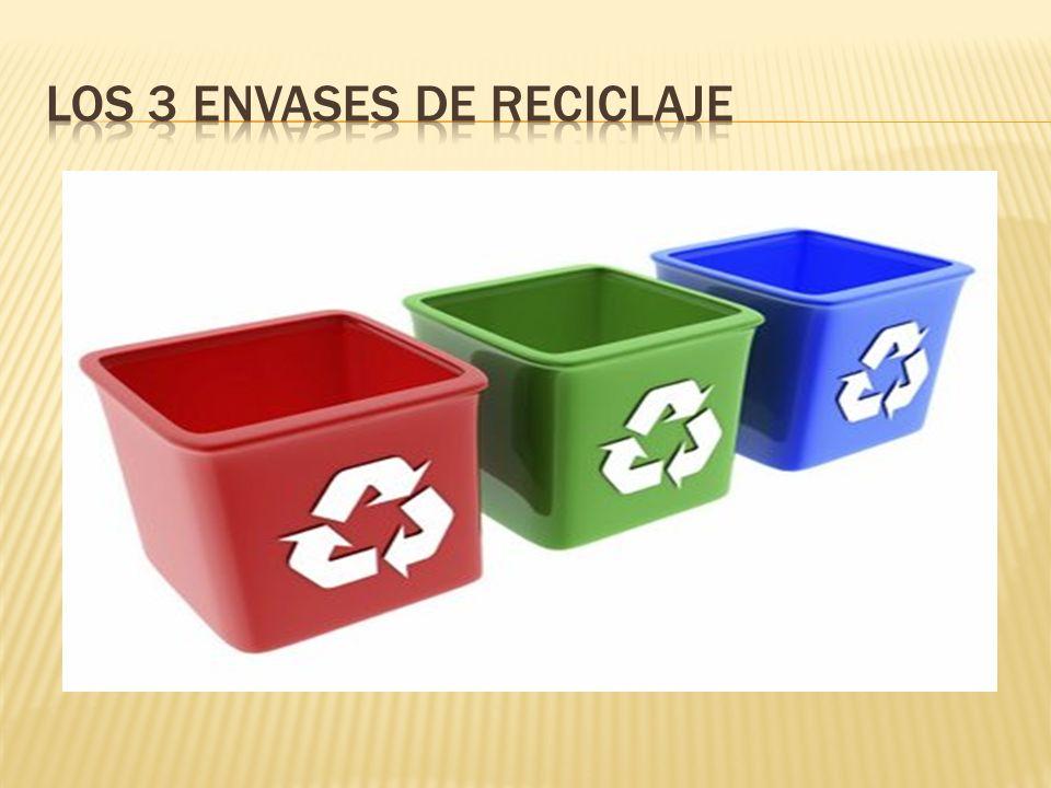 los 3 envases de Reciclaje