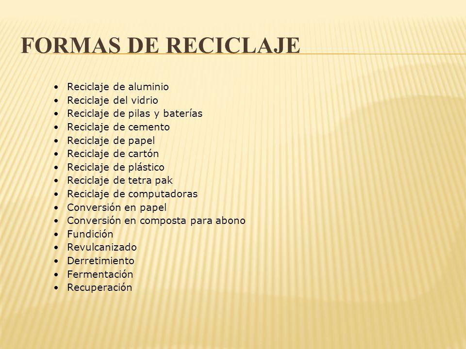 Formas de reciclaje • Reciclaje de aluminio • Reciclaje del vidrio