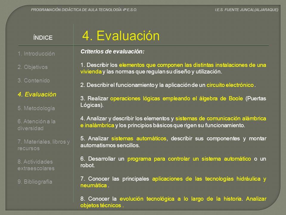 4. Evaluación 4. Evaluación ÍNDICE Criterios de evaluación:
