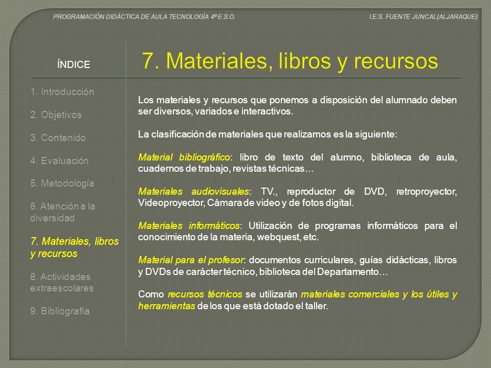 7. Materiales, libros y recursos