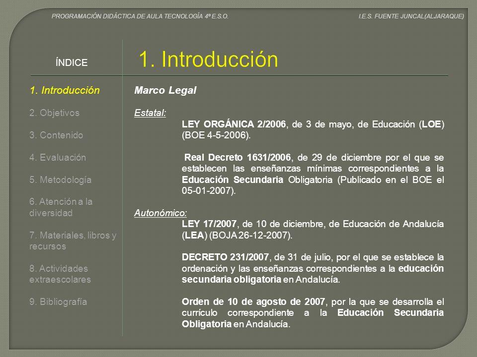 1. Introducción 1. Introducción Marco Legal ÍNDICE 2. Objetivos