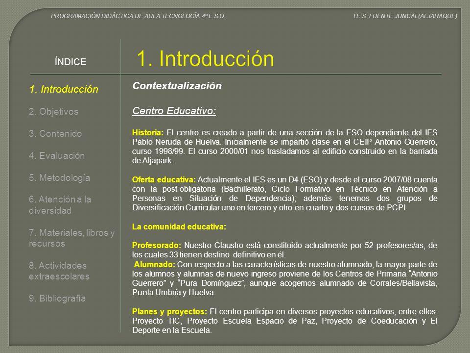 1. Introducción Contextualización 1. Introducción Centro Educativo: