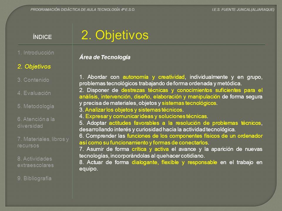 2. Objetivos 2. Objetivos ÍNDICE 1. Introducción Área de Tecnología