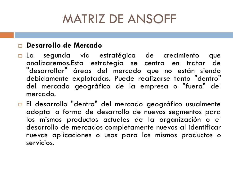 MATRIZ DE ANSOFF Desarrollo de Mercado