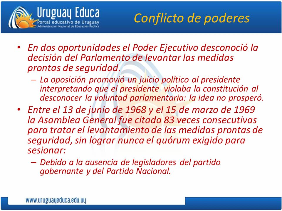 Conflicto de poderes En dos oportunidades el Poder Ejecutivo desconoció la decisión del Parlamento de levantar las medidas prontas de seguridad.