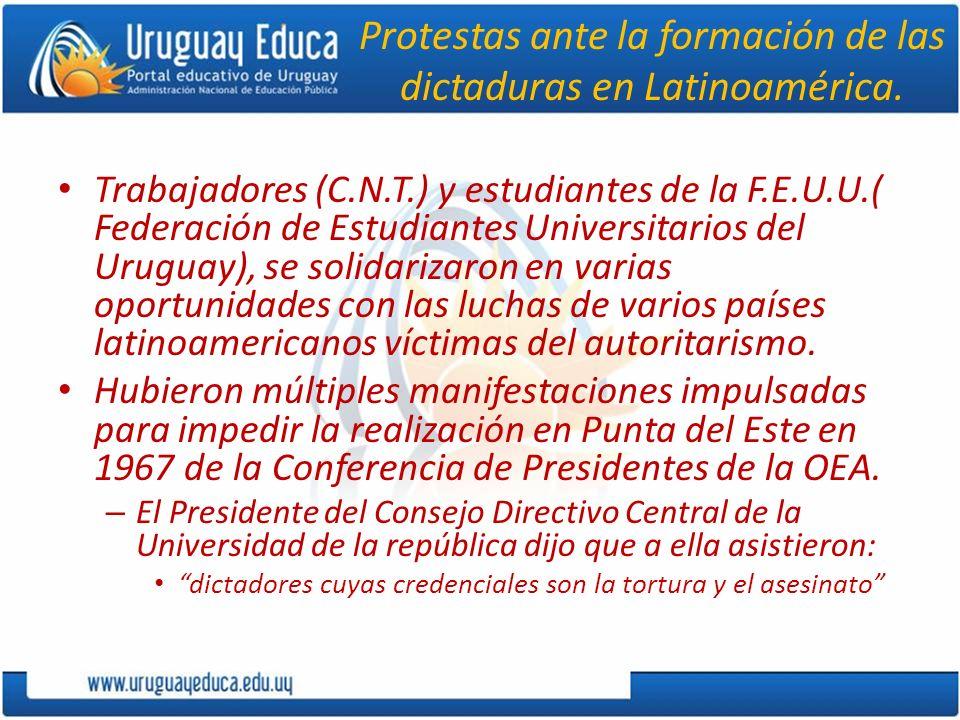 Protestas ante la formación de las dictaduras en Latinoamérica.