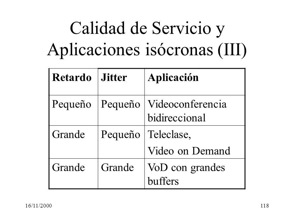 Calidad de Servicio y Aplicaciones isócronas (III)