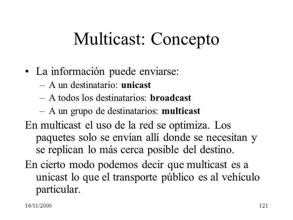Multicast: Concepto La información puede enviarse: