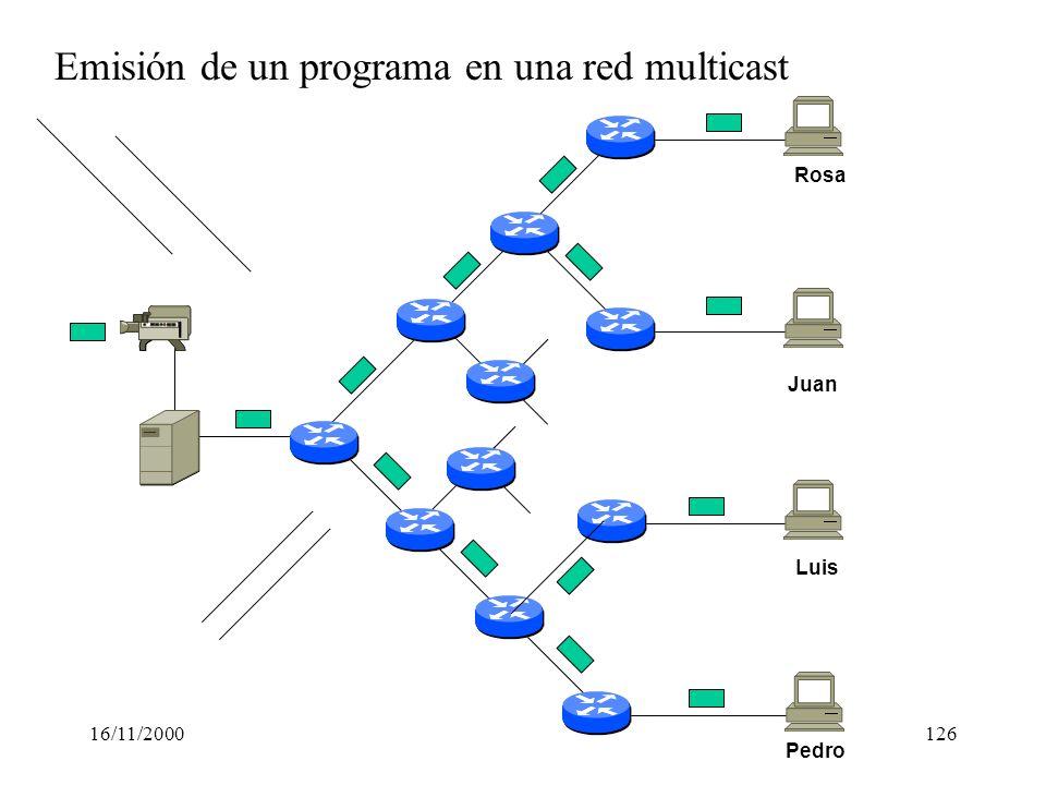 Emisión de un programa en una red multicast