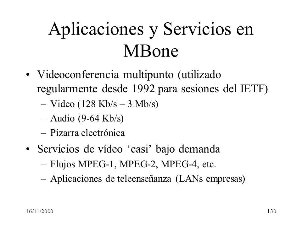 Aplicaciones y Servicios en MBone