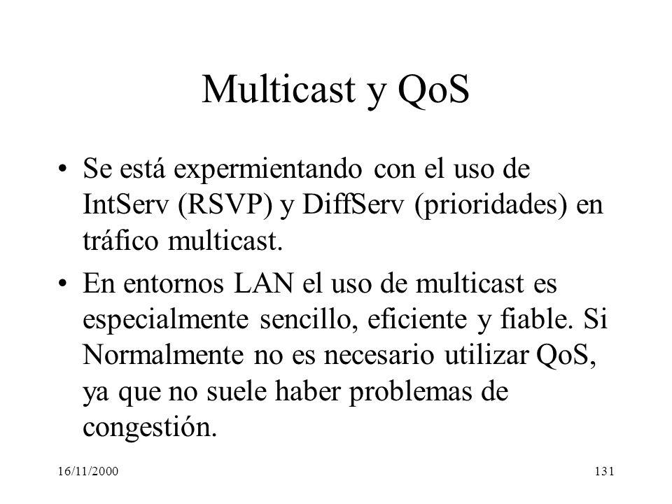 Multicast y QoS Se está expermientando con el uso de IntServ (RSVP) y DiffServ (prioridades) en tráfico multicast.