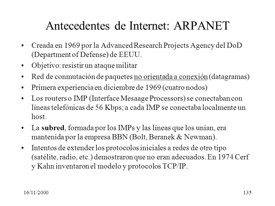 Antecedentes de Internet: ARPANET