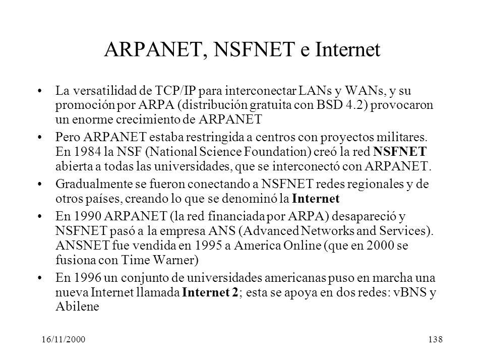 ARPANET, NSFNET e Internet