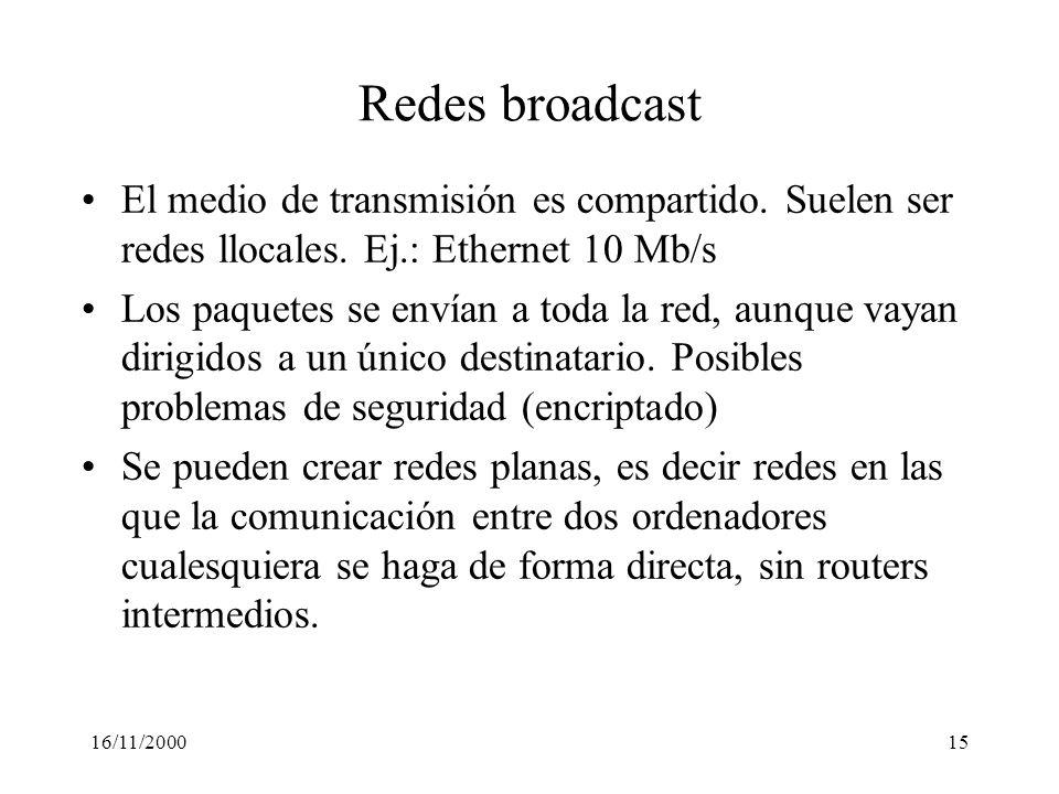 Redes broadcast El medio de transmisión es compartido. Suelen ser redes llocales. Ej.: Ethernet 10 Mb/s.