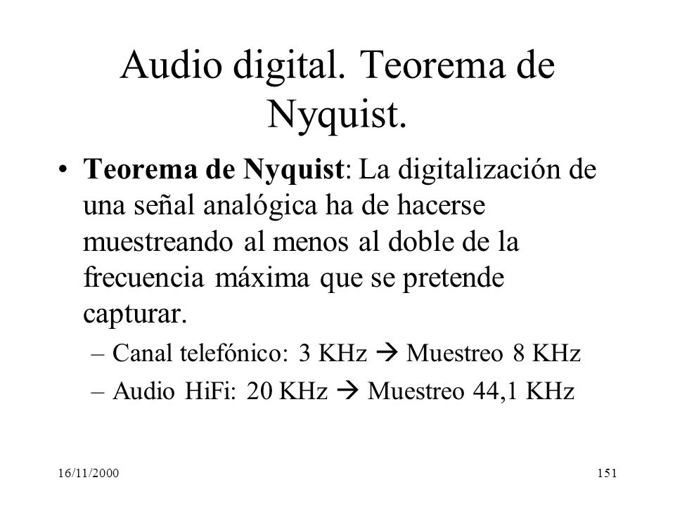 Audio digital. Teorema de Nyquist.