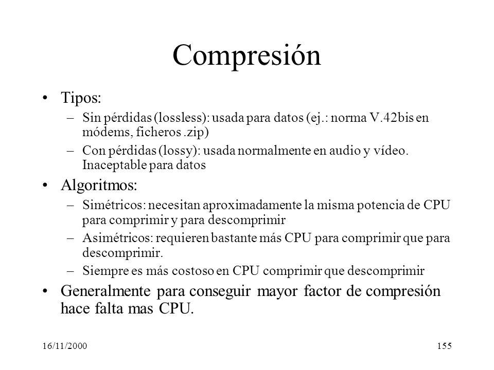 Compresión Tipos: Algoritmos: