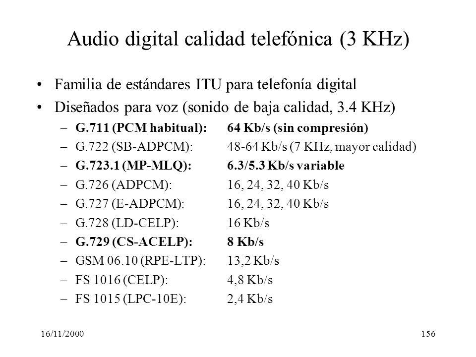 Audio digital calidad telefónica (3 KHz)