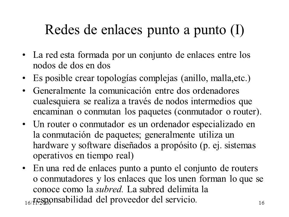 Redes de enlaces punto a punto (I)