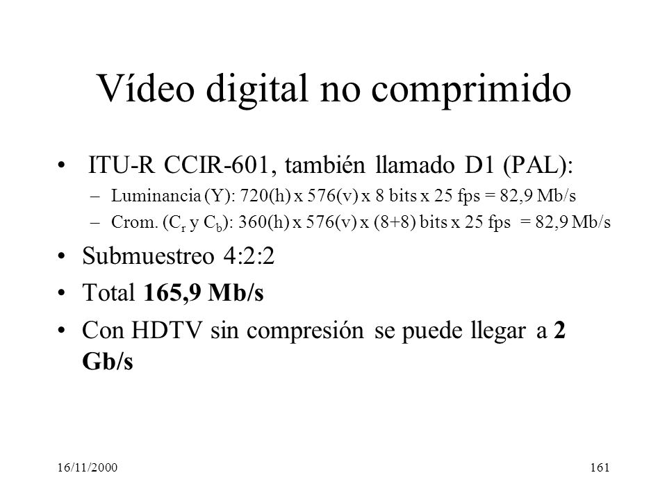 Vídeo digital no comprimido