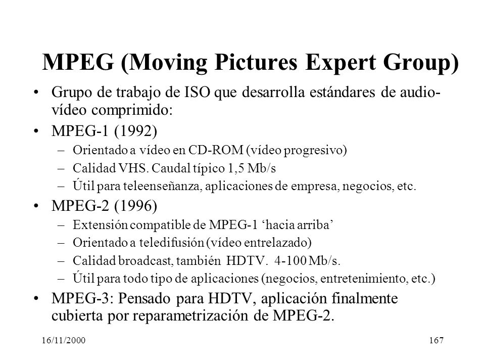 MPEG (Moving Pictures Expert Group)
