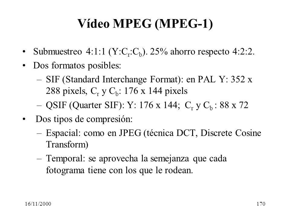 Vídeo MPEG (MPEG-1) Submuestreo 4:1:1 (Y:Cr:Cb). 25% ahorro respecto 4:2:2. Dos formatos posibles: