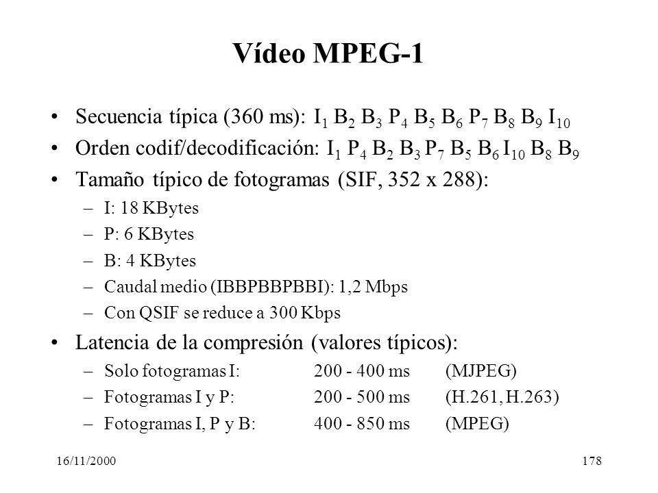 Vídeo MPEG-1 Secuencia típica (360 ms): I1 B2 B3 P4 B5 B6 P7 B8 B9 I10