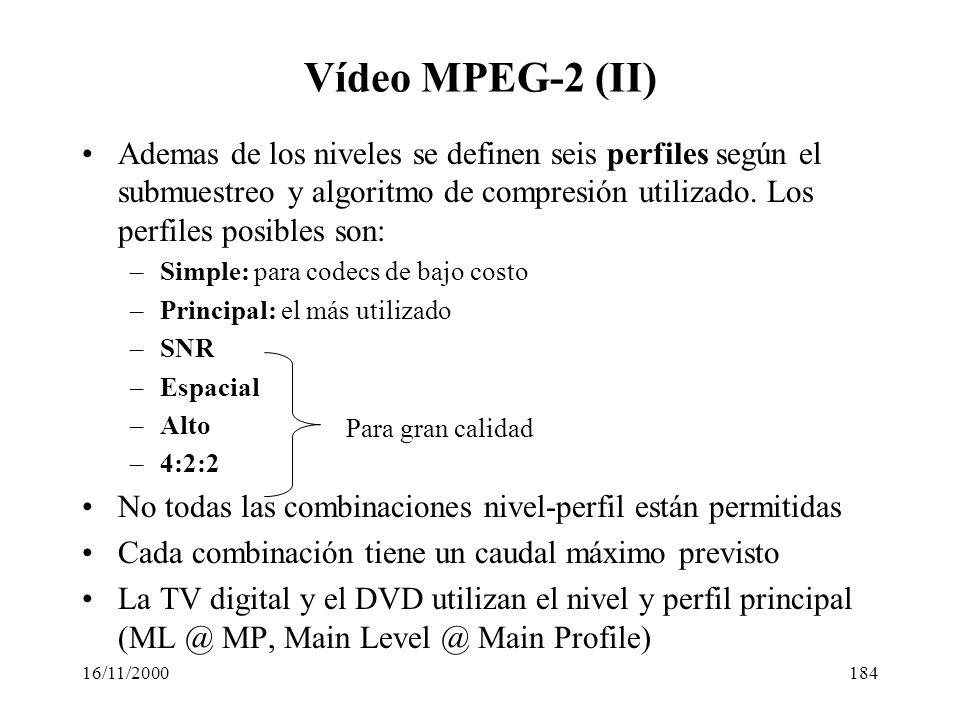 Vídeo MPEG-2 (II) Ademas de los niveles se definen seis perfiles según el submuestreo y algoritmo de compresión utilizado. Los perfiles posibles son: