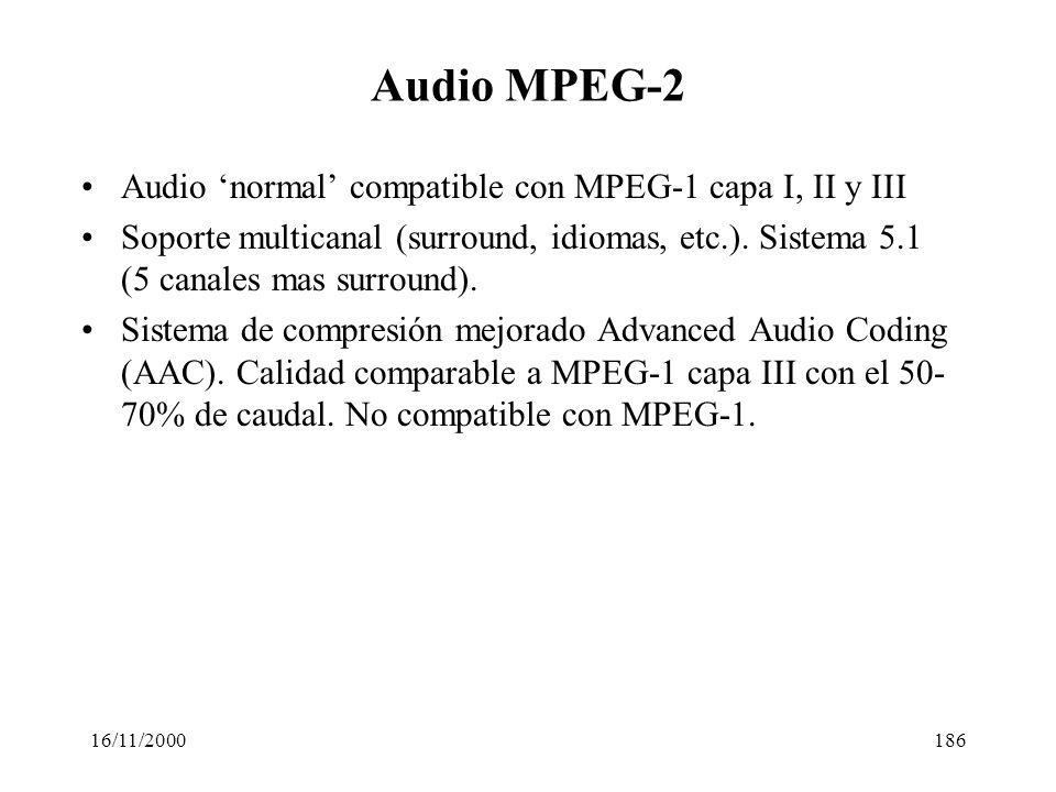 Audio MPEG-2 Audio 'normal' compatible con MPEG-1 capa I, II y III