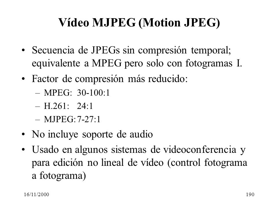 Vídeo MJPEG (Motion JPEG)