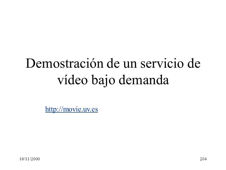 Demostración de un servicio de vídeo bajo demanda