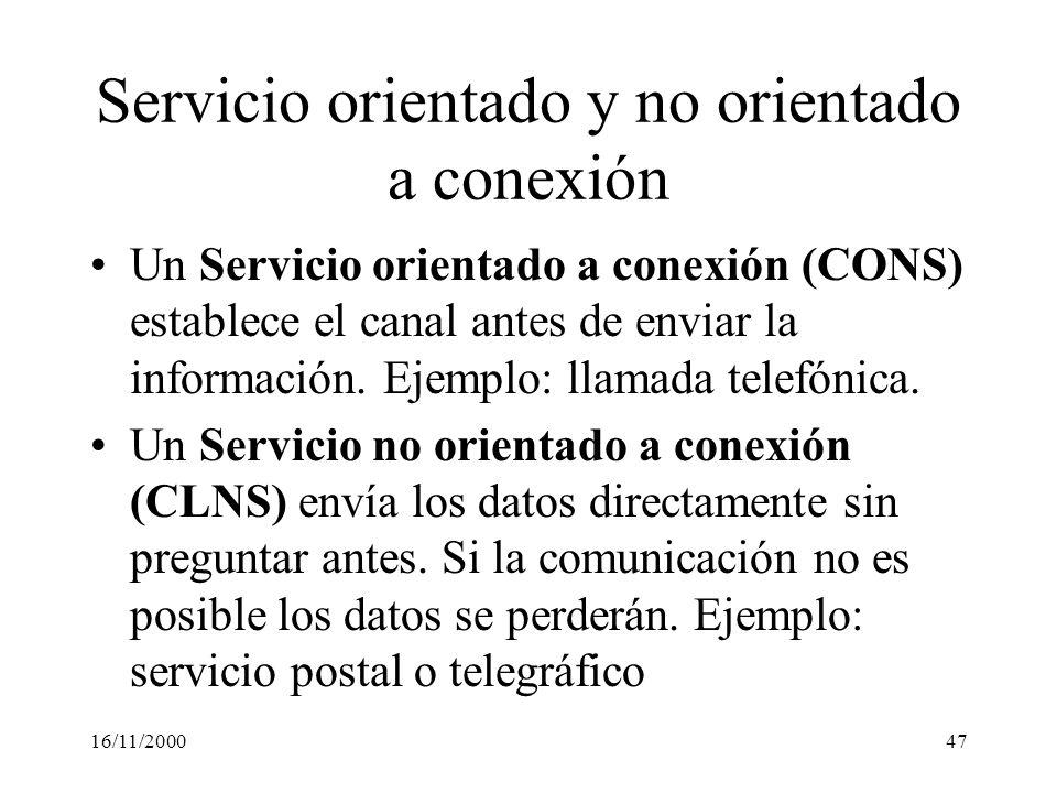Servicio orientado y no orientado a conexión