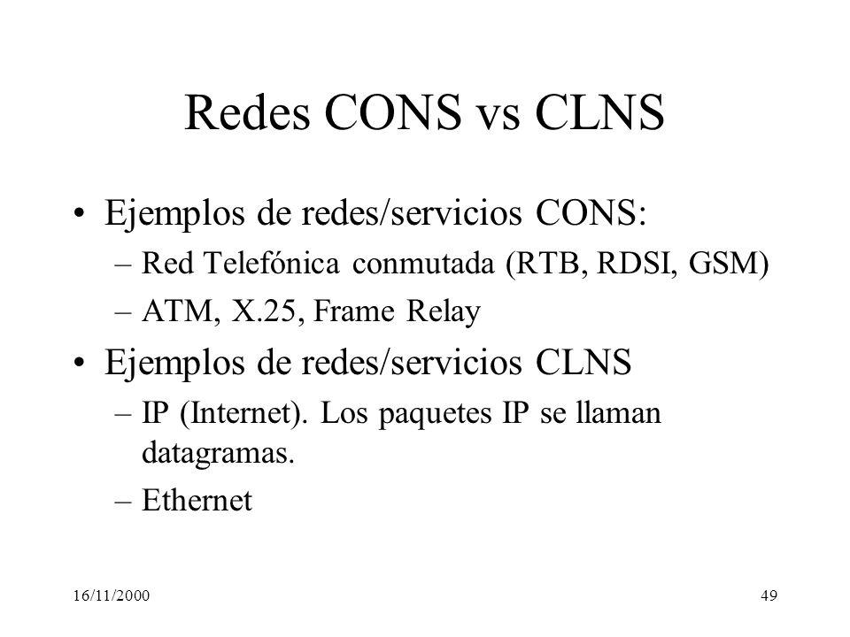 Redes CONS vs CLNS Ejemplos de redes/servicios CONS: