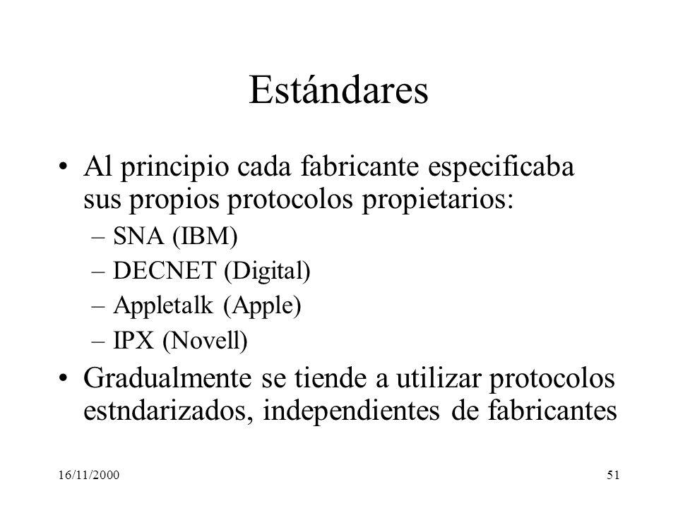 Estándares Al principio cada fabricante especificaba sus propios protocolos propietarios: SNA (IBM)