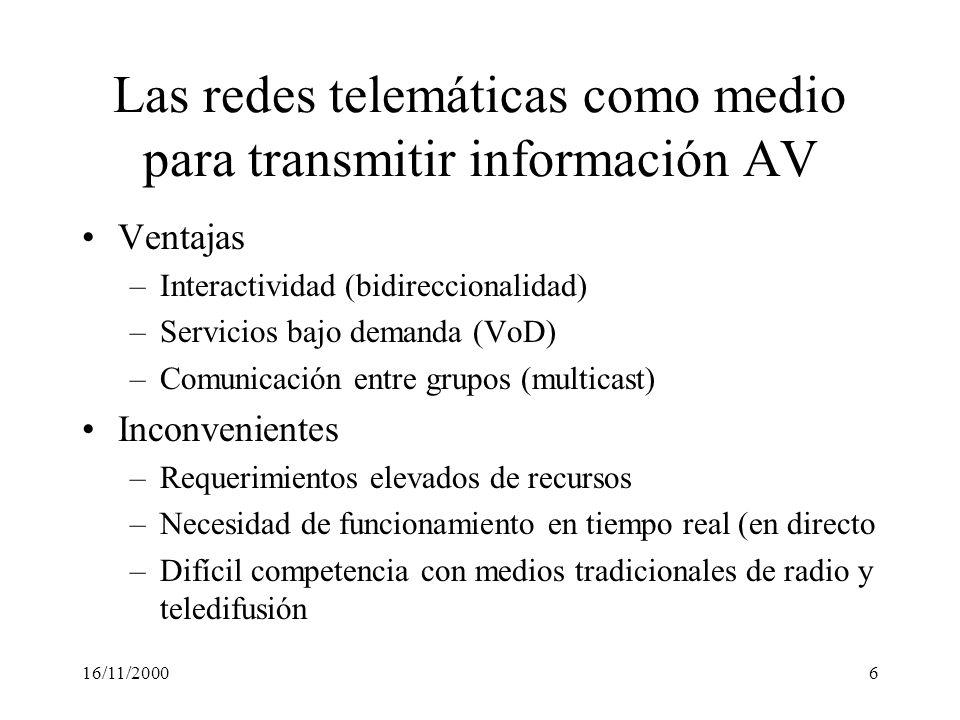 Las redes telemáticas como medio para transmitir información AV