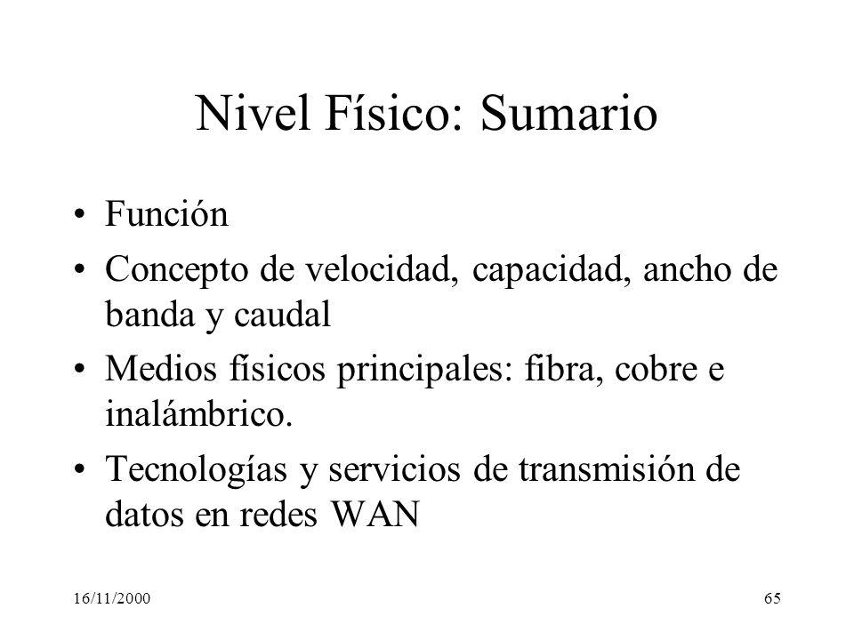 Nivel Físico: Sumario Función