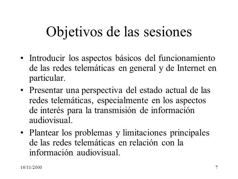 Objetivos de las sesiones
