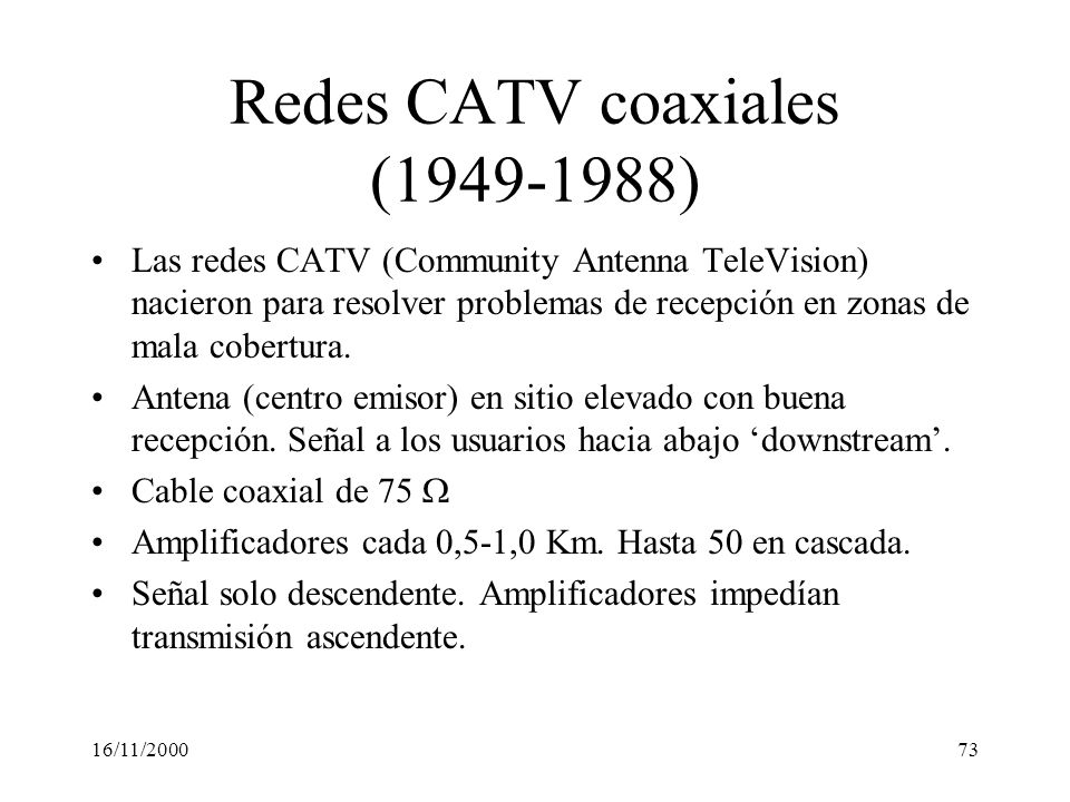 Redes CATV coaxiales (1949-1988)