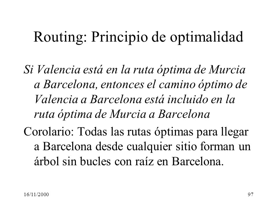 Routing: Principio de optimalidad